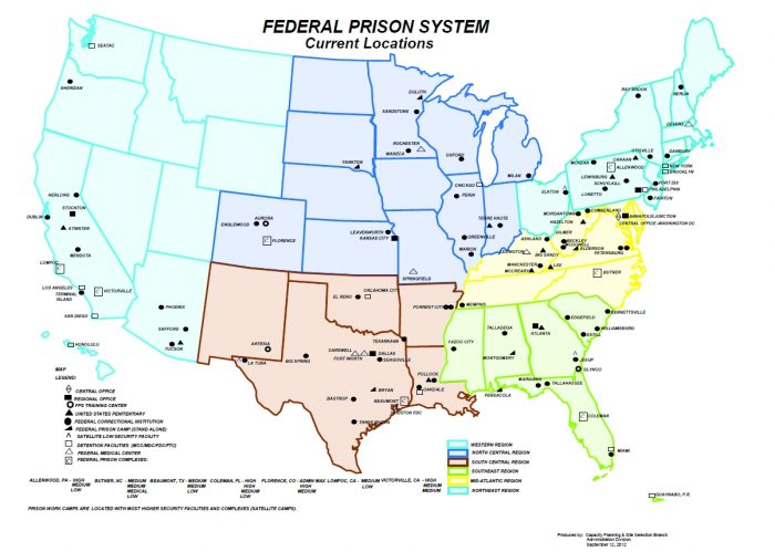 Map of all Federal Prisons